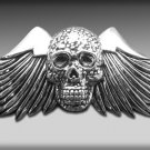 Chrome Large Wing Skull Belt Buckle