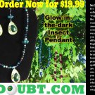 Green Berry Set w/Multi-Colored Beetle Pendant