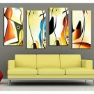 Stretched Canvas Art Abstract Colored Fish Set of 4