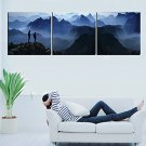 Stretched Canvas Art Landscape Man on Mountain Set of 3