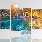 VISUAL STARForest Sunshine Picture Print on Canvas with Wood Frame Waterfall Art Print Ready to Ha