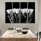 Stretched Canvas Print Art Botanical White Tulip Set of 4