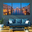 E-HOME Stretched LED Canvas Print Art City Canal Flash effect LED Set of 3