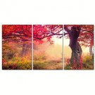 VISUAL STARAutumn Red Tree Canvas Print Forest Wall Art for Home Decoration Ready to Hang