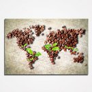 Stretched Coffee Beans Abstract Map Canvas Prints Modern Wall Art for Livingroom or Office Decorat