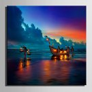 E-HOME Stretched LED Canvas Print Art Boats On The Beach LED Flashing Optical Fiber Print One Pcs