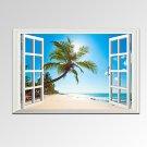 VISUAL STARModern Window View Palm Tree on Beach Canvas Wall Art Seascape Photograph Print Ready t