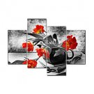 VISUAL STARRed Flower Modern Canvas Art Painting High Quantity Wall Picture Ready to Hang
