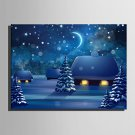 E-HOME Stretched LED Canvas Print Art The Cabin In The Snow LED Flashing Optical Fiber Print One P