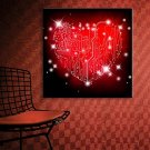 E-HOME Stretched LED Canvas Print Art Red Love Flash Effect LED Flashing Optical Fiber Print