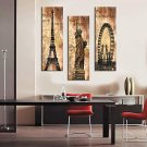 Stretched Canvas Print Vintage Architecture Eiffel Tower,Statue of Liberty and La Grande Roue Set