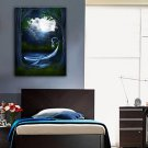 E-HOME Stretched LED Canvas Print Art A Ship in The Moon LED Flashing Optical Fiber Print