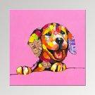 VISUAL STARLucky Dog Painting Digital Canvas Prints Cute Animal Art Print Ready to Hang