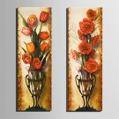 E-HOME Stretched Canvas Art Red Flowers In A Vase Decoration Painting  Set of 2