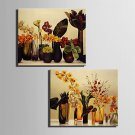 E-HOME Stretched Canvas Art Flowers In A Vase Decoration Painting  Set of 2