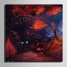 E-HOME Stretched LED Canvas Print Art Cabin in The Woods LED Flashing Optical Fiber Print One Pcs