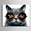 E-HOME Stretched Canvas Art Goldfish in The Eyes of The Cat Decoration Painting  One Pcs