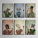 E-HOME Stretched Canvas Art A Red Wine Dog Series Decoration Painting MINI SIZE One Pcs