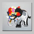 Large Hand Painted MOE MOE Baby Elephant Oil Paintings On Canvas Modern Abstract Wall Art Picture