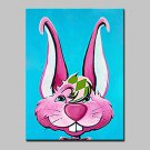 100% Hand Painted Big Ear Rabbits Animal Oil Painting On Canvas Modern Abstract Wall Art Picture F