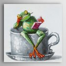 Hand Painted Oil Painting Animal Study of the Frog with Stretched Frame