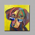 Hand-Painted Abstract Animal Square,Modern One Panel Canvas Oil Painting For Home Decoration