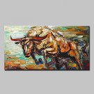 Hand Painted Magnificent Bull Animal Oil Painting On Canvas Modern Abstract Wall Art Picture For H