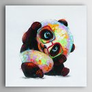 Hand Painted Oil Painting Animal Wear Glasses of the Panda with Stretched Frame 7 Wall Arts