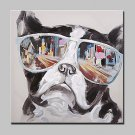 100% Hand-Painted Dog Wearing Sunglasses Animal Oil Paintings On Canvas Modern Abstract Wall Art P