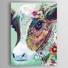Hand-Painted  Animal a Cow Wearing Flowers by Knife Canvas Oil Painting With Stretcher For Home De