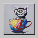 100% Hand-Painted Naughty Cat Animal Oil Painting On Canvas Modern Abstract Wall Art Pictures For