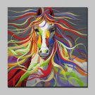 Hand Painted Modern Abstract Horse Animal Canvas Oil Painting Wall Art With Stretched Frame Ready