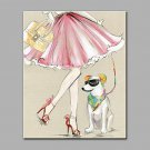 Hand-Painted Walk The Dog Vertical Art Deco/Retro One Panel Canvas Oil Painting for Home Decoratio