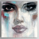 Oil Painting a Woman's Face Hand Painted Canvas with Stretched Framed Ready to Hang