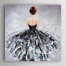 Hand-Painted  Back of a Woman With Skirt by Knife  Canvas Oil Painting With Stretcher For Home Dec