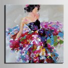 Mini Size E-HOME Oil painting Modern A Woman In A Flower Skirt Pure Hand Draw Frameless Decorative