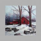 IARTS Hand Painted Abstract Oil Painting Vintage Style Winter Snow Woody House with Stretched Fram