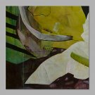 IARTS Modern Abstract Green& Yellow Colorful Oil Painting On Canvas with Stretched Frame Wall Art