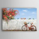 Hand Painted Oil Painting Landscape The Corner of The Bike with the birds with Stretched Frame 7 W
