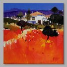 IARTS Hand Painted Modern Abstract Landscape View with Red Feild Oil Painting On Canvas Stretched