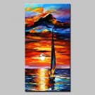 Large Size Hand Painted Modern Abstract Seaview Oil Painting On Canvas For Home Decor With Stretch
