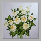 IARTS Hand Painted Abstract Pure White Rose Bouquet Floral Oil Painting with Stretched Frame For H