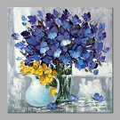 IARTS Hand Painted Abstract Navy Blue Bouquet in Vase Floral Oil Painting with Stretched Frame Pic