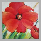 IARTS Hand Painted Abstract Red Poppy & Grass Floral Oil Painting with Stretched Frame Picture For