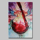 Handmade Modern Red Wine GlassOil Painting On Canvas Wall Art Picture For Living Room Whit Frame R