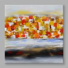 IARTS Hand Painted Modern Abstract Red and Yellow Color Pieces Stretchered Ready to Hang Colorful