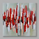 IARTS Hand Painted Modern Abstract Red and Grey Color Pieces Stretchered Ready to Hang Colorful Ar