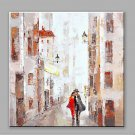 Abstract Oil Painting The Lover Walking in The Street Road Framed Handmade Oil Painting For Home D