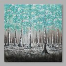 IARTS Hand Painted Oil Painting Modern Winter BirchBlue&White) Birch Abstract Art Acrylic Canvas W