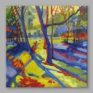 IARTS Oil Painting Modern Abstract Knife Blue Woods Art Acrylic Canvas Wall Art For Home Decoratio